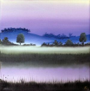 Barbel River at Dusk #2 (original oil painting)
