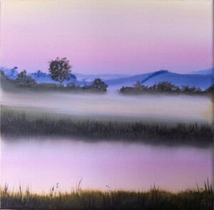 Barbel River at Dusk #3 (original oil painting)